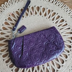 COACH Purple Gramercy Quilted Patent Wristlet